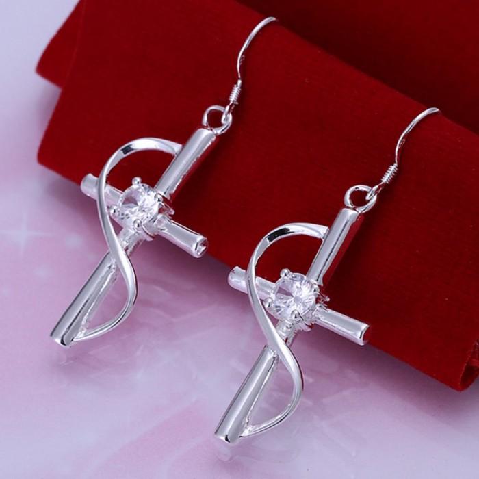 SE194 Silver Jewelry Crystal Cross Dangle Earrings For Women