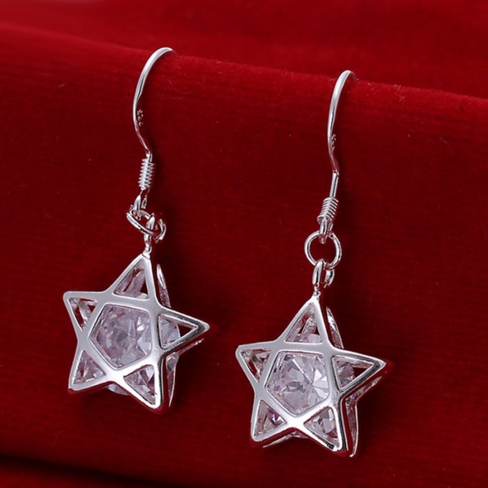 SE200 Silver Jewelry Crystal Star Dangle Earrings For Women