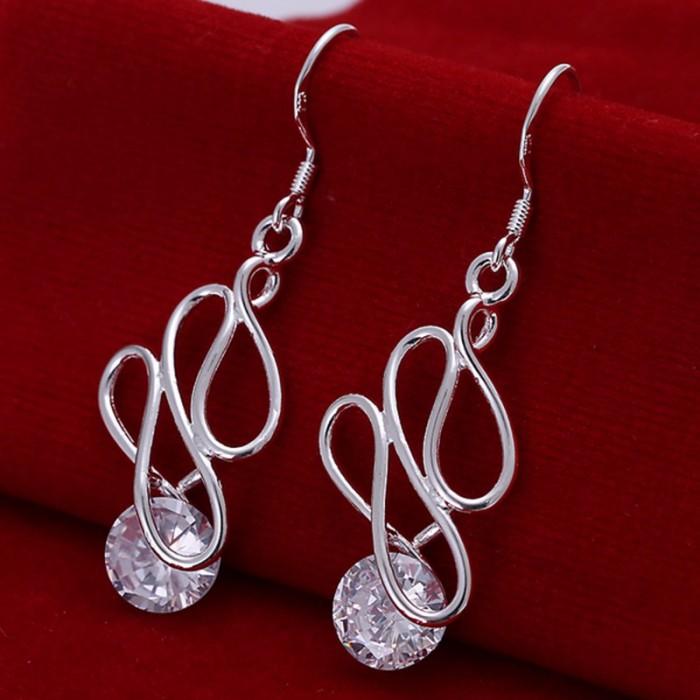SE202 Silver Jewelry Crystal Dangle Earrings For Women