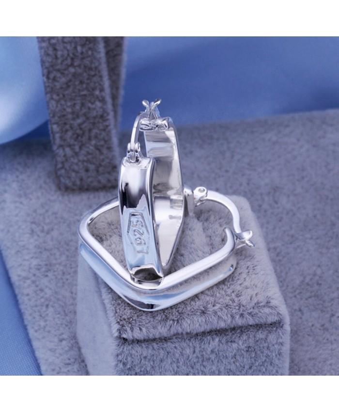 SE280 Silver Jewelry Geometry Hoop Earrings For Women