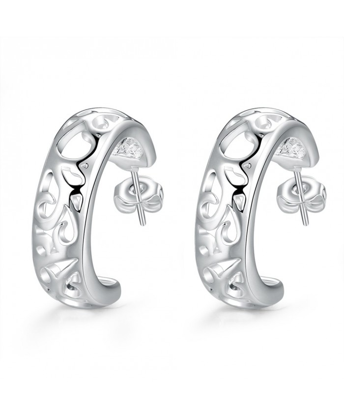 SE630 Silver Jewelry Graven Hoop Earrings For Women