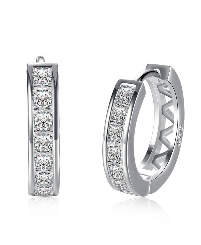SE783 Silver Jewelry Crystal Circle Hoop Earrings For Women