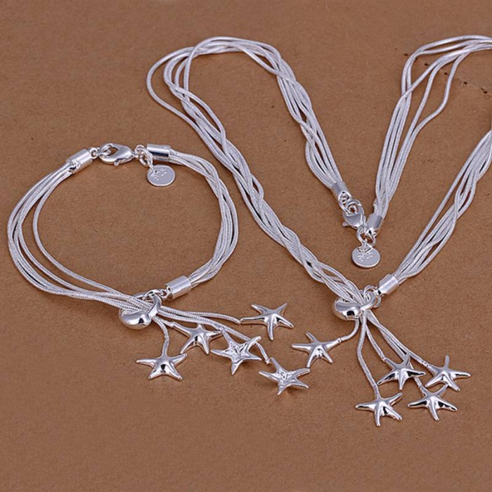 SS007 Silver 5 Line Star Bracelet Necklace Jewelry Sets