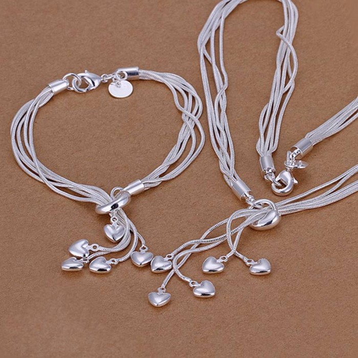 SS009 Silver 5 Line Heart Bracelet Necklace Jewelry Sets