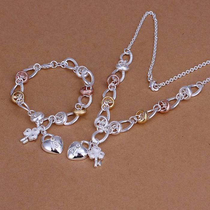 SS010 Silver Crystal Gold Key Lock Bracelet Necklace Jewelry Sets