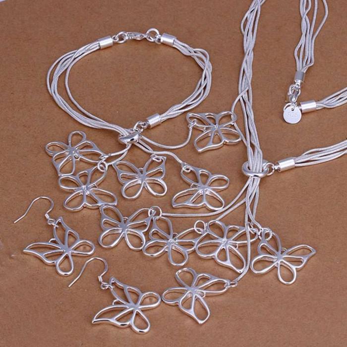 SS012 Silver 5Line Butterfly Bracelet Earrings Necklace Jewelry Sets