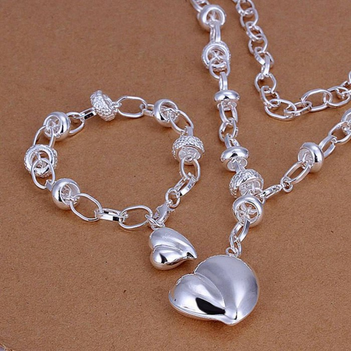 SS014 Silver Peach Heart Bracelet Necklace Jewelry Sets