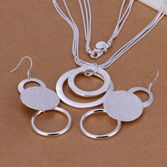 SS017 Silver Circle Earrings Necklace Jewelry Sets