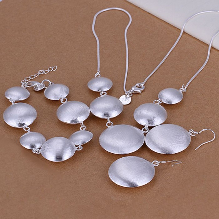 SS019 Silver Bright Round Bracelet Earrings Necklace Jewelry Sets