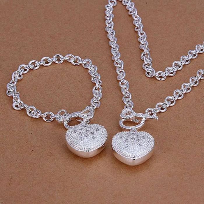 SS025 Silver Crystal Heart Key Bracelet Necklace Jewelry Sets