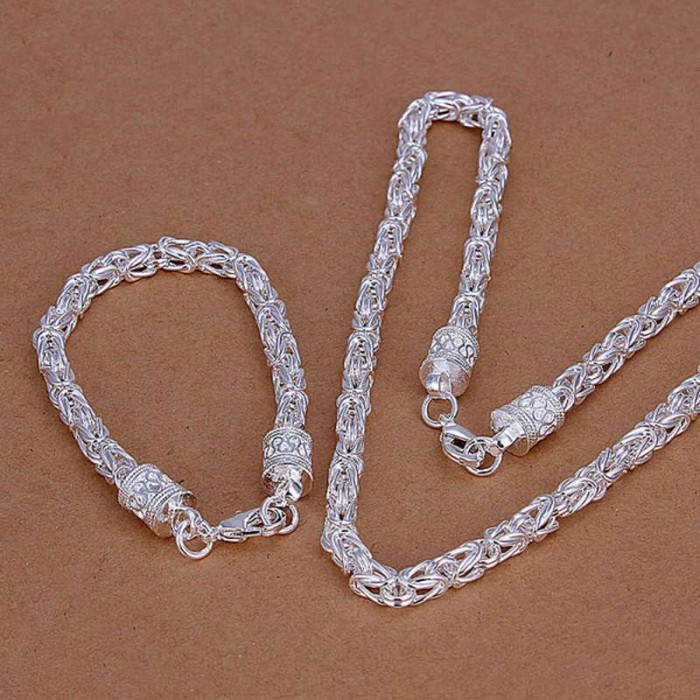 SS027 Silver Dragon Chain Bracelet Necklace Jewelry Sets