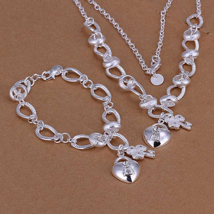 SS031 Silver Crystal Key Lock Bracelet Necklace Jewelry Sets
