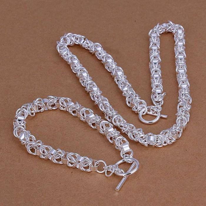 SS049 Silver Dragon Chain T-O Bracelet Necklace Jewelry Sets