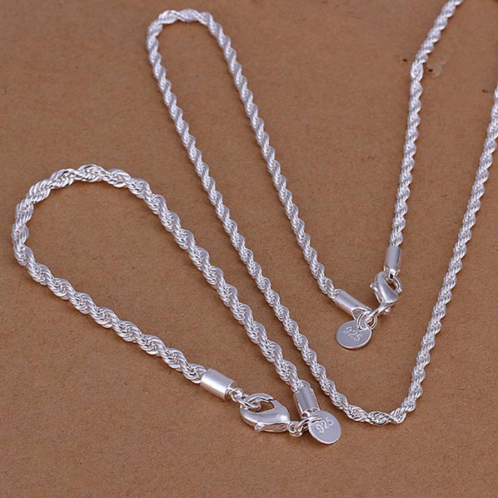 SS051 Silver 4MM Rope Chain Bracelet Necklace Jewelry Sets
