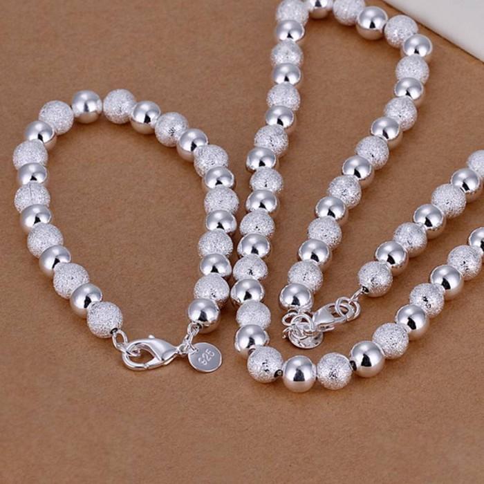 SS056 Silver 8MM Beads Bracelet Necklace Jewelry Sets