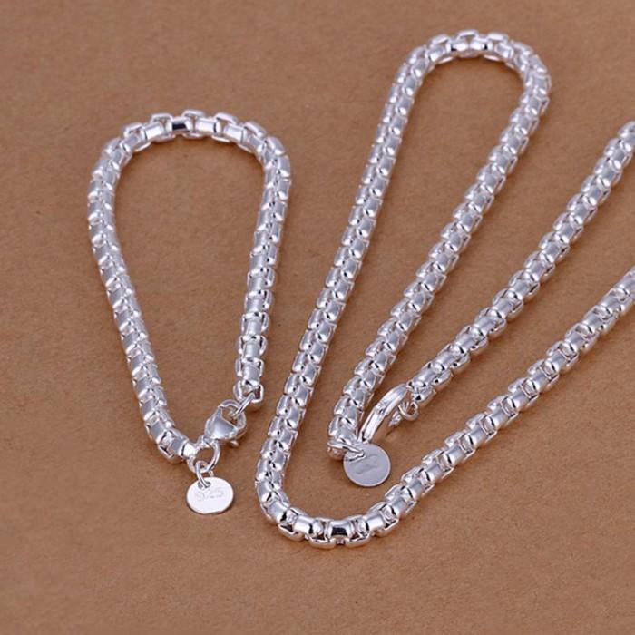 SS058 Silver Chain Bracelet Necklace Men Jewelry Sets