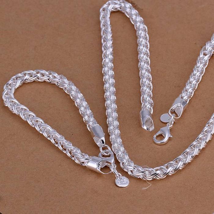 SS059 Silver Twist Chain Bracelet Necklace Jewelry Sets