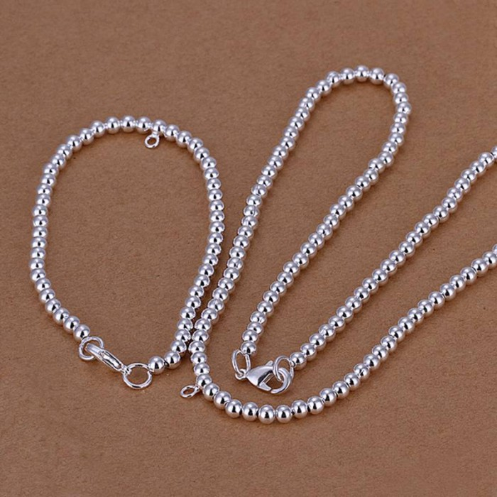 SS062 Silver 4MM Bead Bracelet Necklace Jewelry Sets