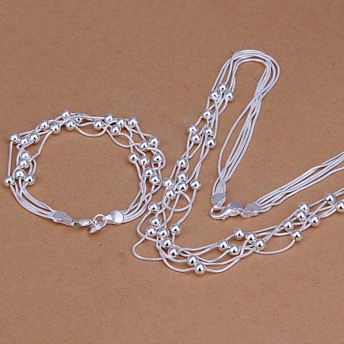 SS063 Silver 5 Line Beads Bracelet Necklace Jewelry Sets