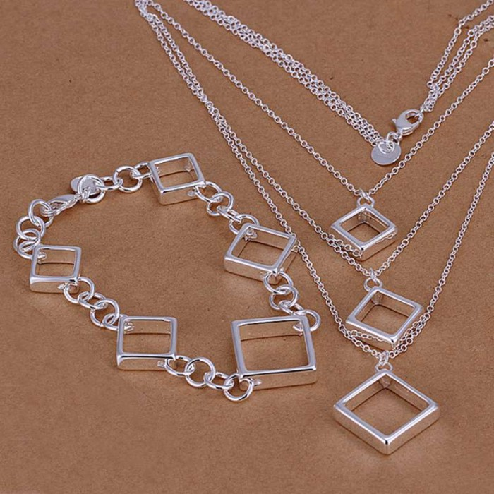 SS064 Silver Square Chain Bracelet Necklace Jewelry Sets