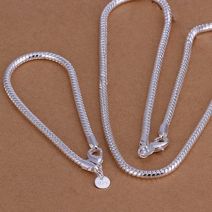 SS065 Silver 4MM Snake Chain Bracelet Necklace Jewelry Sets