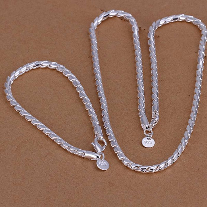 SS068 Silver Rope Chain Bracelet Necklace Men Jewelry Sets