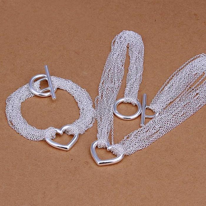 SS070 Silver Chain Heart Bracelet Necklace Jewelry Sets