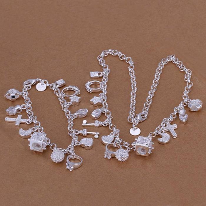 SS074 Silver Luxury 13Charms Bracelet Necklace Jewelry Sets
