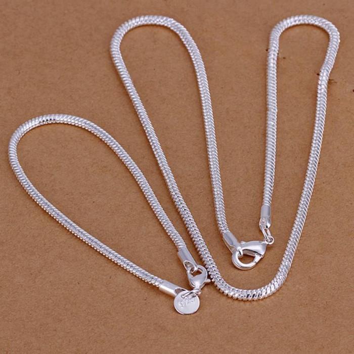 SS076 Silver 3MM Snake Chain Bracelet Necklace Jewelry Sets