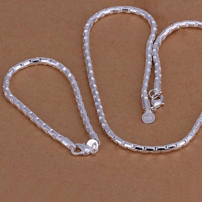 SS079 Silver Chain Bracelet Necklace Men Jewelry Sets