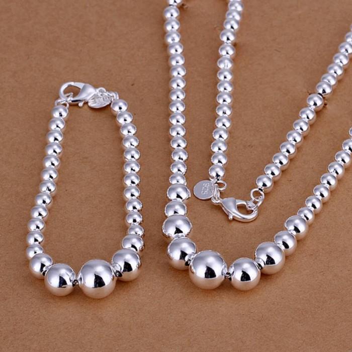 SS080 Silver Beads Bracelet Necklace Jewelry Sets