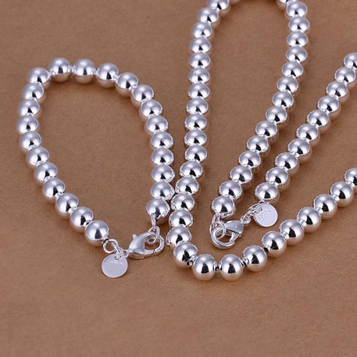 SS081 Silver 8MM Beads Bracelet Necklace Jewelry Sets