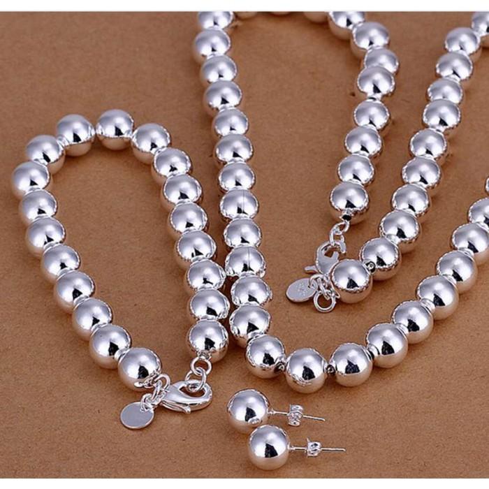 SS082-2 Silver 10MM Beads Bracelet Earrings Necklace Jewelry Sets