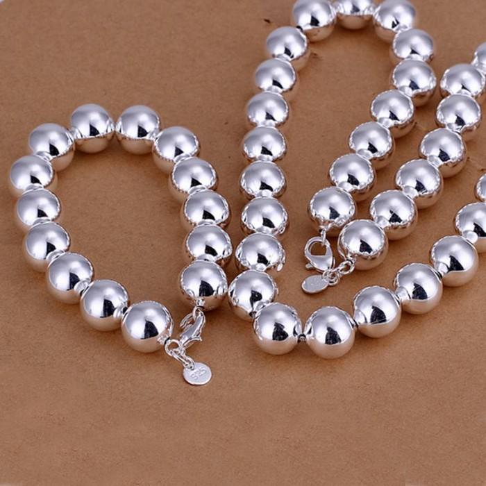 SS092 Silver 14MM Beads Bracelet Necklace Jewelry Sets