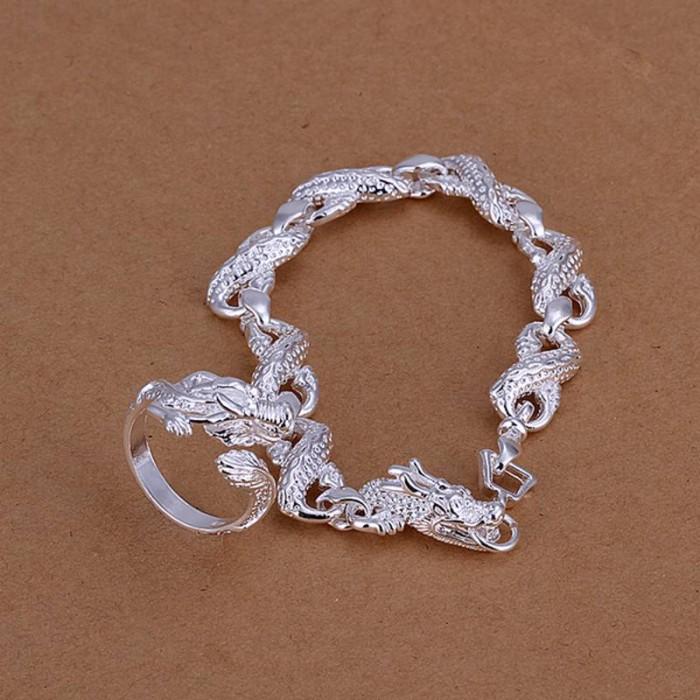 SS094 Silver Dragon Bracelet Rings Jewelry Sets