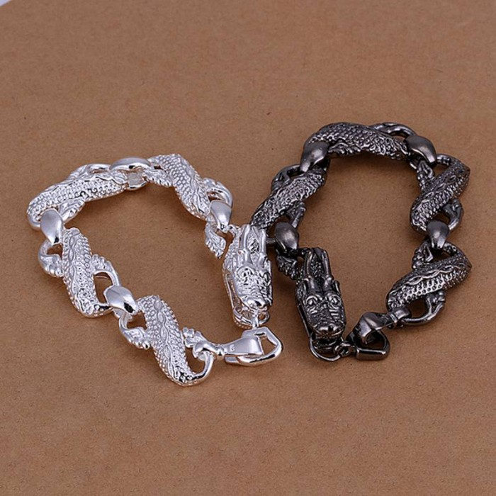 SS096 Silver Dragon 2 Bracelet Lover Jewelry Sets