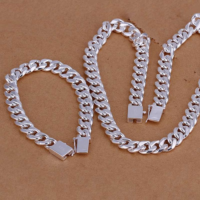SS101 Silver 10MM Chain Bracelet Necklace Men Jewelry Sets