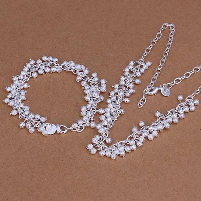 SS104 Silver Frosted Grape Bracelet Necklace Jewelry Sets