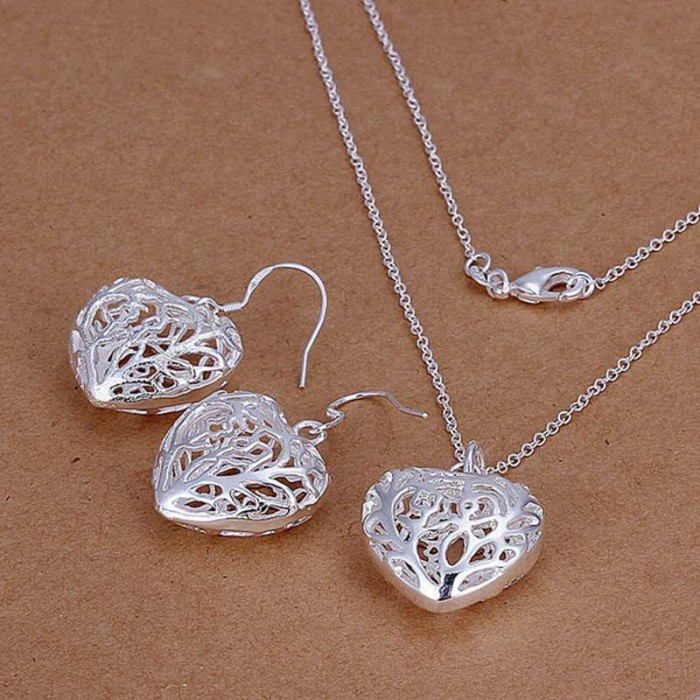 SS108 Silver Hollow Out Heart Earrings Necklace Jewelry Sets