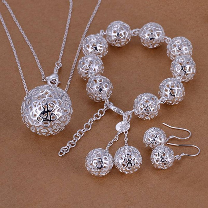 SS110 Silver Hollow Out Ball Bracelet Earrings Necklace Jewelry Sets
