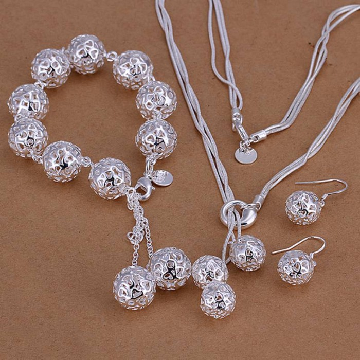 SS111 Silver Hollow Out Ball Bracelet Earrings Necklace Jewelry Sets