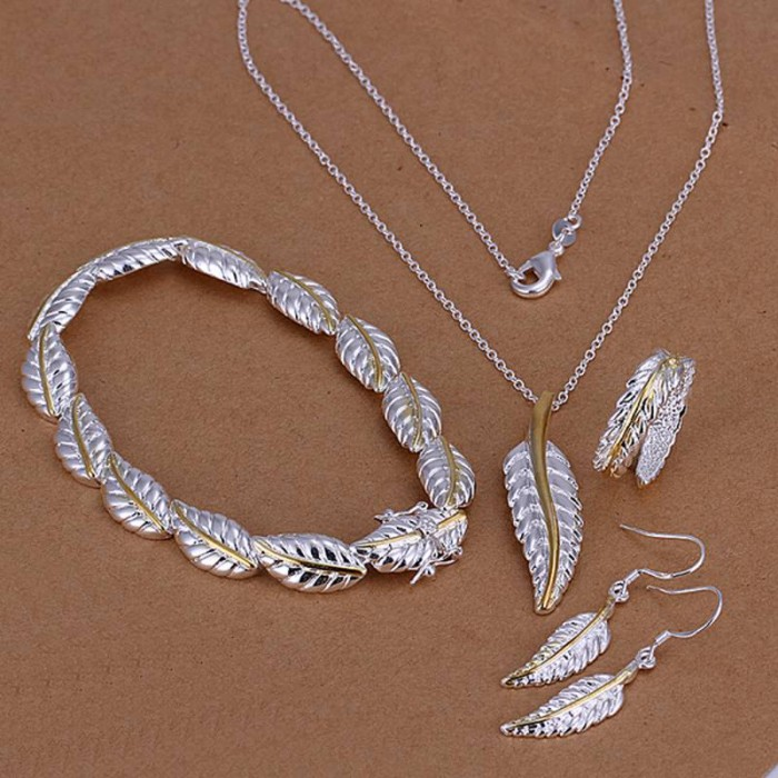 SS112 Silver Gold Feather Bracelet Earrings Rings Necklace Jewelry Sets