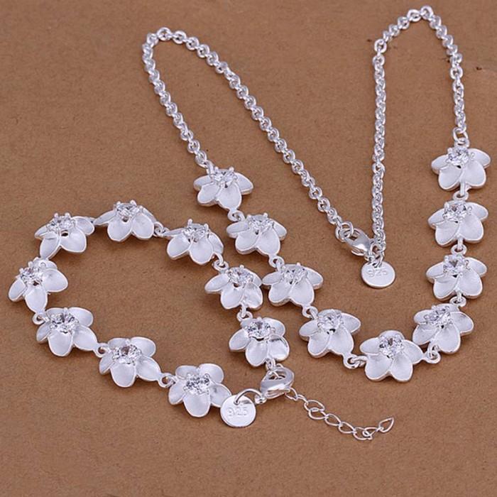 SS117 Silver Crystal Flower Bracelet Necklace Jewelry Sets