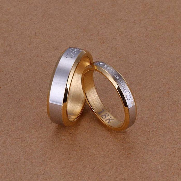 SS119 Silver Gold LOVE 2 Rings Lover Jewelry Sets