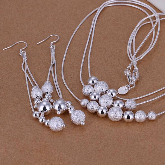 SS122 Silver 3Line Beads Earrings Necklace Jewelry Sets