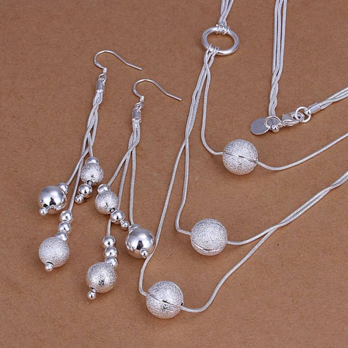 SS123 Silver 3 Chain Beads Earrings Necklace Jewelry Sets