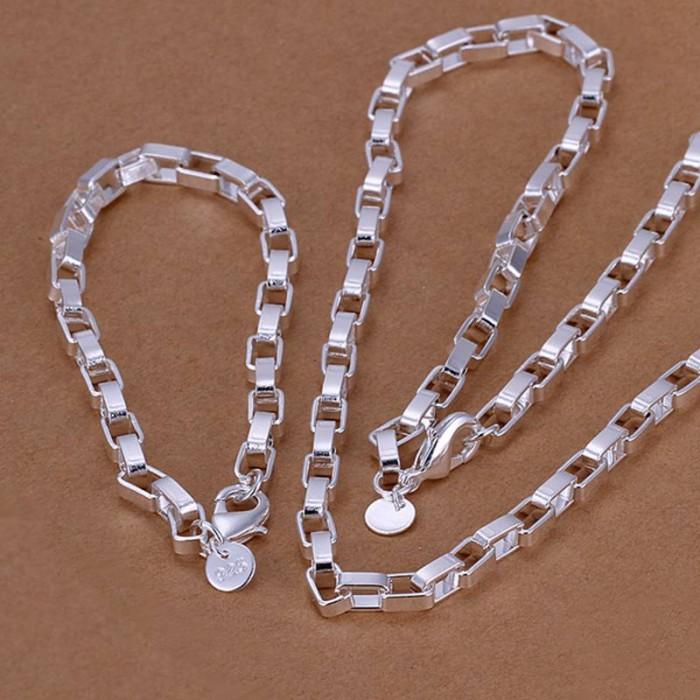 SS126 Silver Chain Bracelet Necklace Jewelry Sets