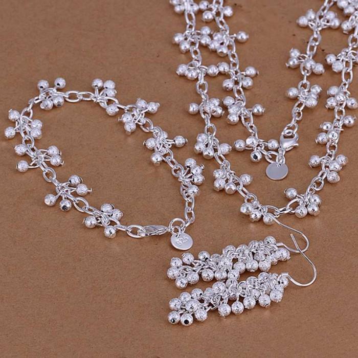 SS128 Silver Frosted Grape Bracelet Earrings Necklace Jewelry Sets