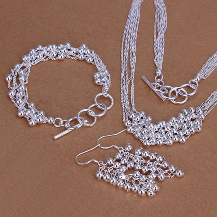 SS137 Silver Bright Grape Bracelet Earrings Necklace Jewelry Sets