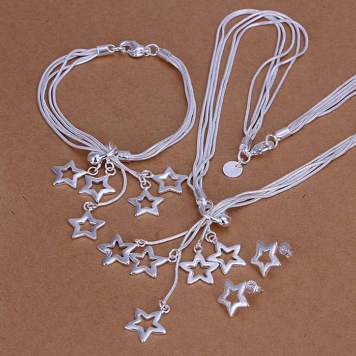 SS138 Silver 5 Chain Star Bracelet Earrings Necklace Jewelry Sets
